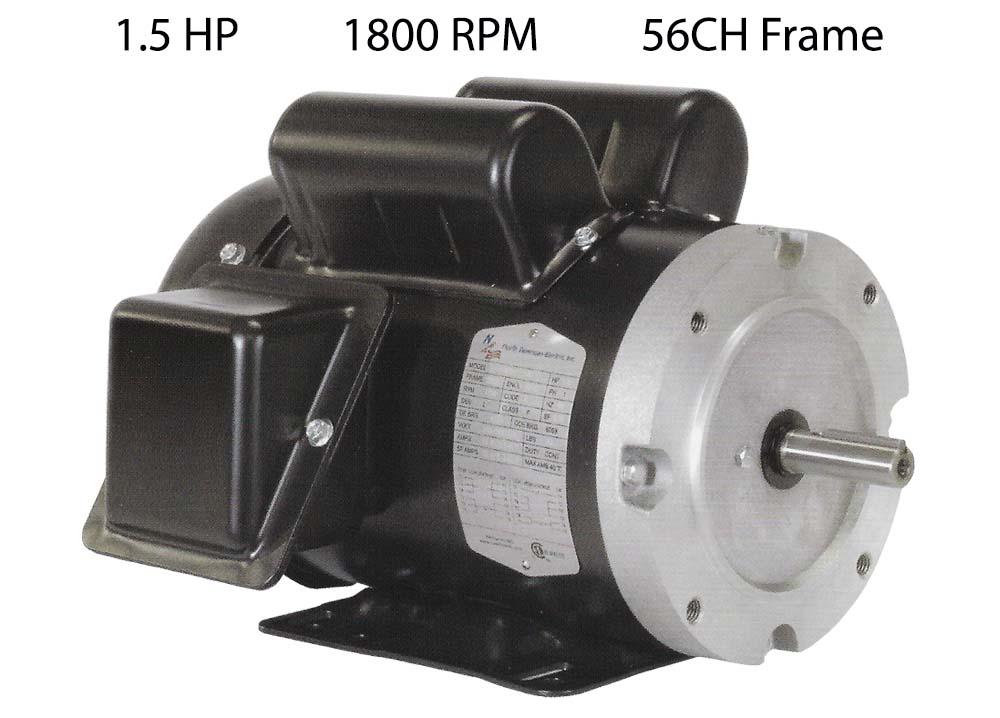 1.5 HP 1800 RPM Single Phase Motor 56CH Frame F56CH1.5S4C