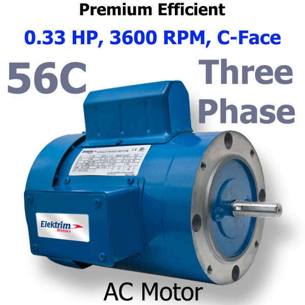0.33 HP 3600 RPM Inverter Duty Motor 56C 38CR-3-0.33-36
