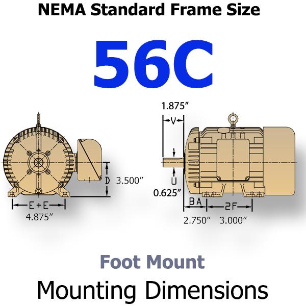 Nema standard motor sizes for 56 frame motor shaft size